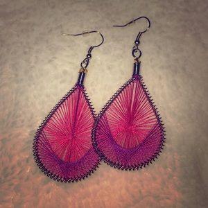 💍 Pink Purple Dangle Earrings